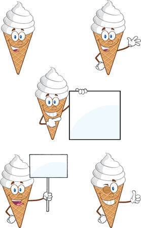 cone cake cone: Ice Cream Cartoon Mascot Character  Collection Set Illustration
