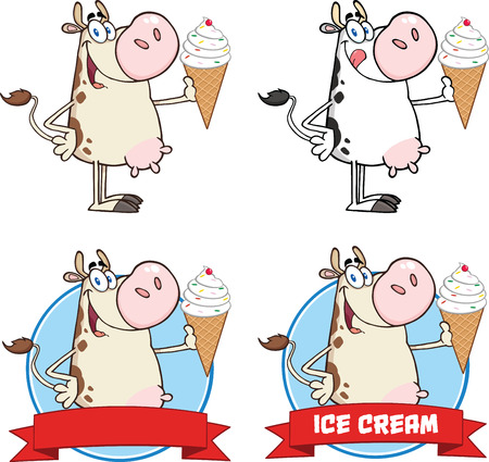 Cow Cartoon Character Holding A Ice Cream Circle Banners  Collection Set Vector