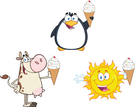 Different Mascots Holding A Ice Cream  Collection Set 向量圖像