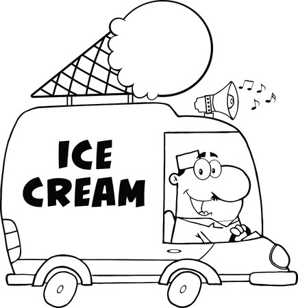 Black And White Happy Ice Cream Man Driving Truck Vector