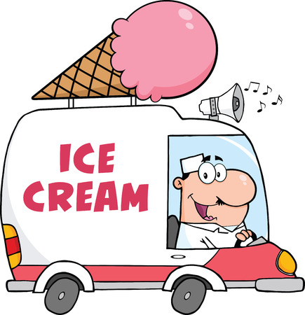 waffle ice cream: Happy Ice Cream Man Driving Truck Illustration