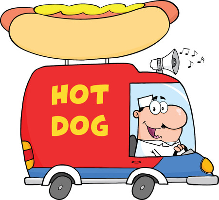 Happy Hot Dog Vendor Driving Truck Vector