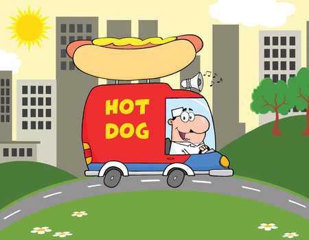 Happy Hot Dog Vendor Driving Truck In The Town Vector