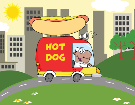 hot dog: African American Hot Dog Vendor Driving Truck In The Town