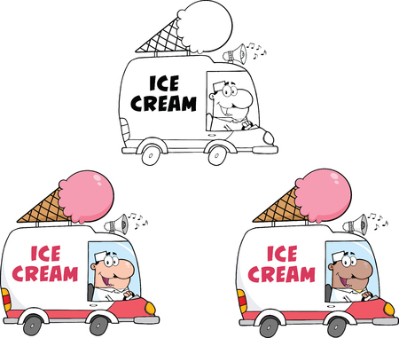 Ice Cream Truck  Collection Set Vector