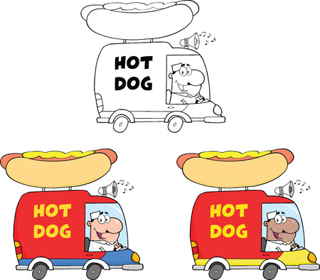 Hot Dog Trucks  Collection Set Vector