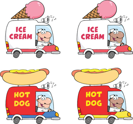 Cartoon Delivery Trucks  Collection Set Vector