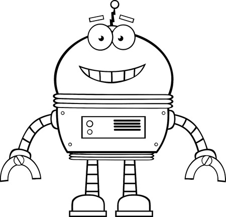Black And White Smiling Robot Cartoon Character  Illustration Isolated on white