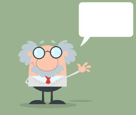 Funny Scientist Or Professor Waving With Speech Bubble Flat Design Illustration