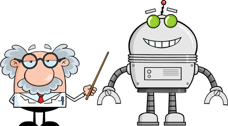 Funny Scientist Or Professor Shows His Pointer A Big Robot  Illustration Isolated on white