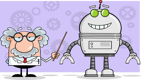 Scientist Or Professor Shows His Pointer A Big Robot Illustration