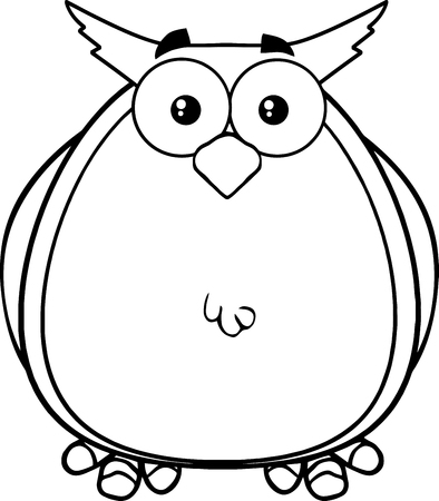 Black And White Owl Cartoon Mascot Character  Illustration Isolated on white Vector