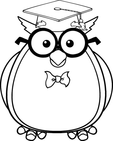 Black And White Wise Owl Teacher Cartoon Character With Glasses And Graduate Cap  Illustration Isolated on white Vector