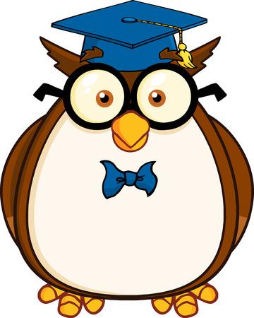 buho graduacion: Personaje de dibujos animados del profesor B�ho sabio con gafas y tap�n de graduado ilustraci�n aislada en blanco