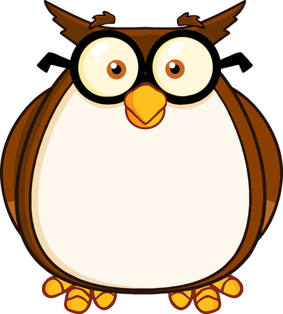 Wise Owl Teacher Cartoon Character With Glasses  Illustration Isolated on white