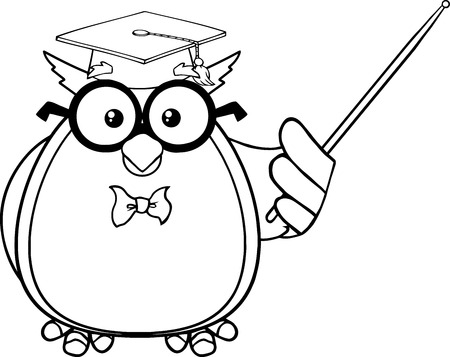 hat graduate: Black And White Wise Owl Teacher Cartoon Mascot Character With A Pointer
