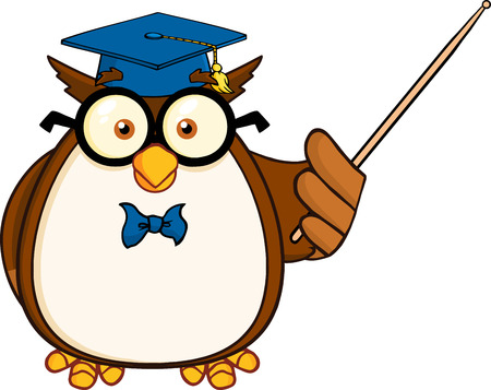 Wise Owl Teacher Cartoon Mascot Character With A Pointer Vector