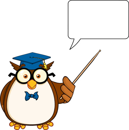 Wise Owl Teacher Cartoon Mascot Character With A Pointer And  Speech Bubble Vector