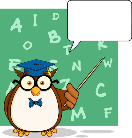 Wise Owl Teacher Cartoon Character With A Speech Bubble And Background Vector