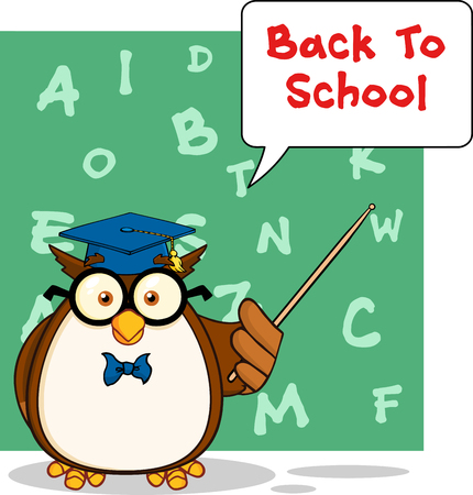 Wise Owl Teacher Cartoon Mascot Character With A Speech Bubble And Text  Vector