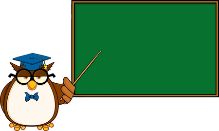 scholar: Wise Owl Teacher Cartoon Mascot Character In Front Of School Chalk Board  Illustration Isolated on white