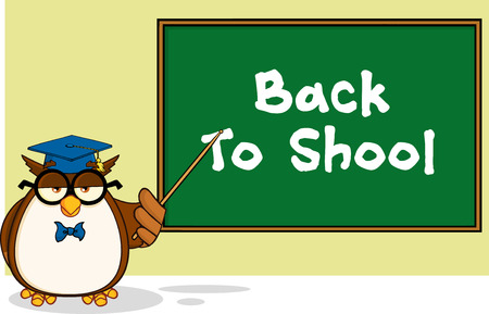 Wise Owl Teacher Cartoon Mascot Character In Front Of School Chalk Board With Text  Illustration Isolated on white Vector