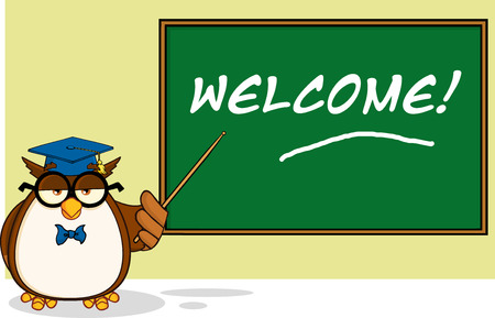 Wise Owl Teacher Cartoon Character In Front Of School Chalk Board With Text  Illustration Isolated on white Vector