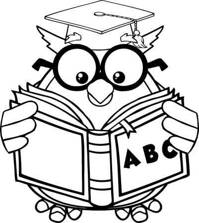 Blanco y negro Búho sabio maestro de la historieta de la mascota del personaje que lee un libro ABC Ilustración aislado en blanco Ilustración de vector