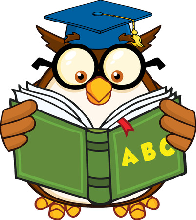Wise Owl Teacher Cartoon Mascot Character Reading A ABC Book  Illustration Isolated on white