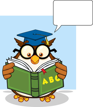 Wise Owl Teacher Cartoon Mascot Character Reading A ABC Book And Speech Bubble  Illustration Isolated on white Vector
