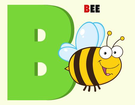 Funny Cartoon Alphabet-B With Bee And Text Ilustração