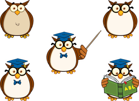 Wise Owl Teacher Cartoon Mascot Character 1  Collection Set Vector