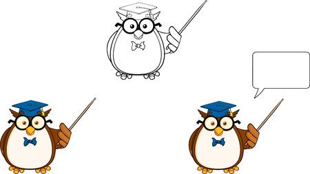 Wise Owl Teacher Cartoon Mascot Character 3  Collection Set