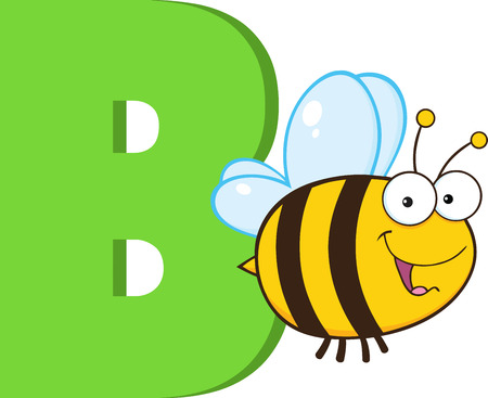 Funny Cartoon Alphabet-B With Bee  Illustration Isolated on white Ilustração