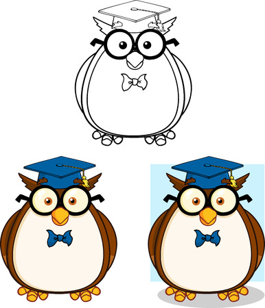 wise old owl: Wise Owl Teacher Cartoon Mascot Character 2  Collection Set Illustration