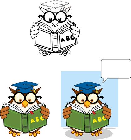 Wise Owl Teacher Cartoon Mascot Character 5  Collection Set Vector