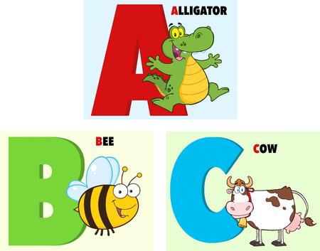 ABC Funny Cartoon Alphabet  Collection Set Vector