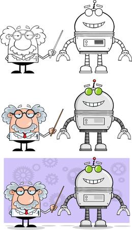 Scientist Or Professor Shows His Pointer A Big Robot  Collection Set Ilustração