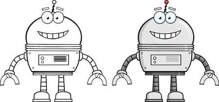 Smiling Robot Cartoon Character  Collection Set Vector