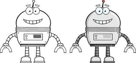 Smiling Robot Cartoon Character  Collection Set