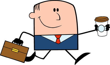 workingman: Lucky Businessman Running To Work With Briefcase And Coffee Cartoon Character Illustration