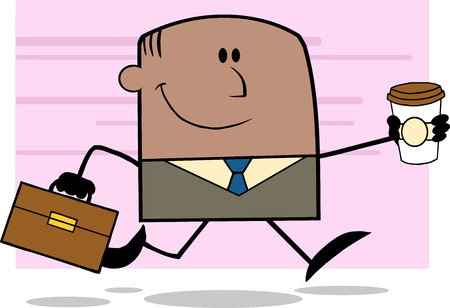 Lucky African American Businessman Running To Work With Briefcase And Coffee Cartoon Character On Background