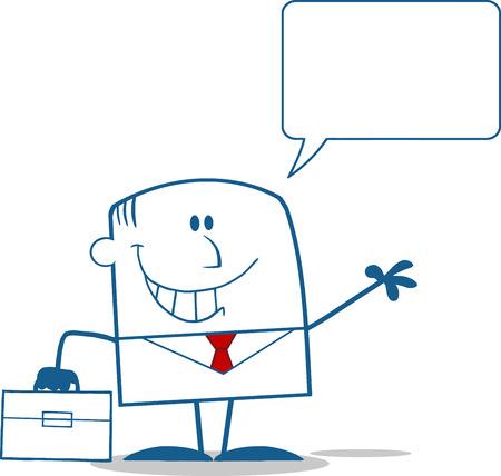 Smiling Businessman Waving Monochrome Cartoon Character With Speech Bubble Illustration