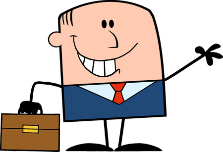 welcoming: Smiling Businessman Cartoon Character Waving