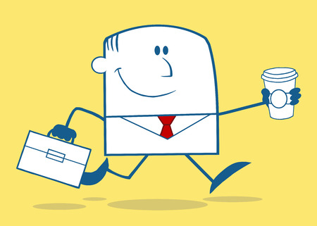 workingman: Lucky Businessman Running To Work With Briefcase And Coffee Monochrome Cartoon Character On Yellow Background Illustration