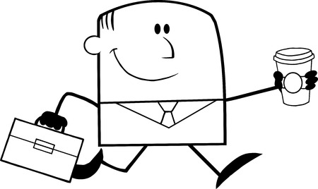 Black And White Lucky Businessman Running To Work With Briefcase And Coffee Cartoon Character Vector