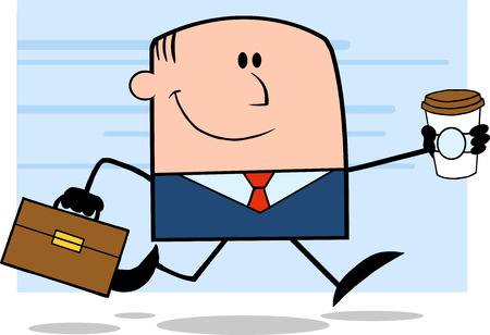 Lucky Businessman Running To Work With Briefcase And Coffee Cartoon Character On Background