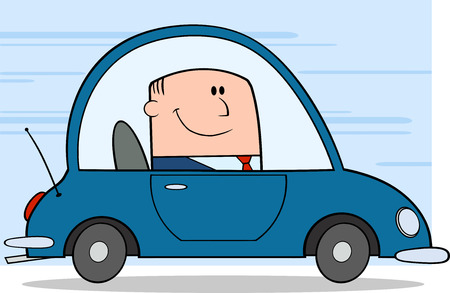 car rent: Businessman Driving Car To Work Cartoon Character On Background