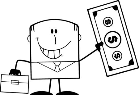 Black And White Lucky Businessman With Briefcase Holding A Dollar Bill Cartoon Character Vector
