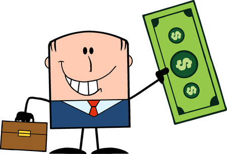 Lucky Businessman With Briefcase Holding A Dollar Bill Cartoon Character Vector